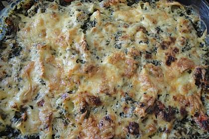 Tortellini gratiniert mit Lachs und Spinat 7