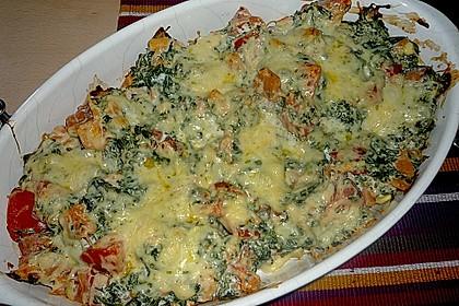 Tortellini gratiniert mit Lachs und Spinat 5