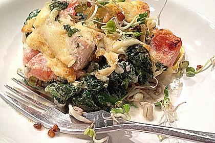 Tortellini gratiniert mit Lachs und Spinat 3
