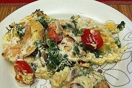 Tortellini gratiniert mit Lachs und Spinat 9