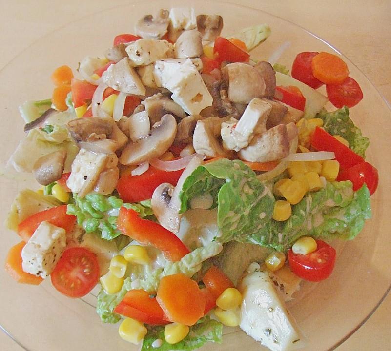 salat mit gem se und gebratenen k se champignons rezept mit bild. Black Bedroom Furniture Sets. Home Design Ideas