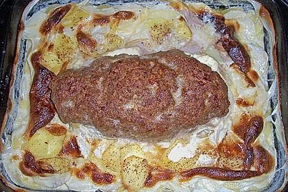 Hackbraten mit Kartoffeln in Sahne 34