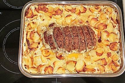 Hackbraten mit Kartoffeln in Sahne 4
