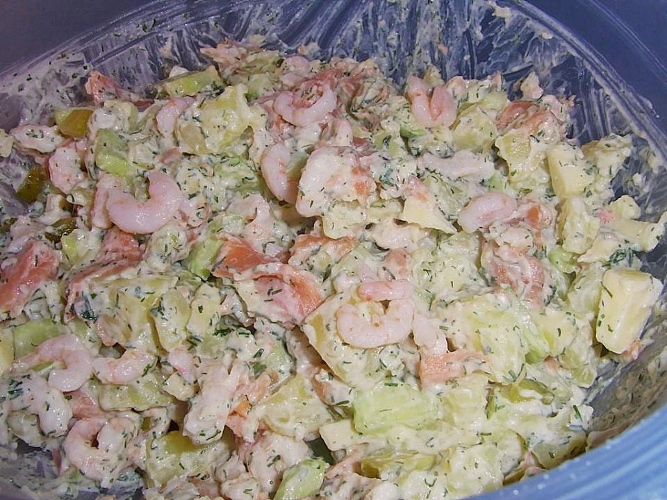 lachs kartoffel shrimps salat rezept mit bild. Black Bedroom Furniture Sets. Home Design Ideas