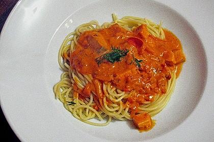 Nudeln mit Lachs - Shrimps - Sauce 2