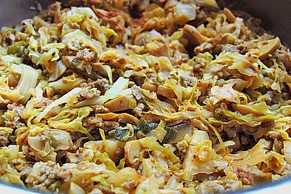 Spitzkohl-Champignon-Hack-Pfanne mit Reis 6