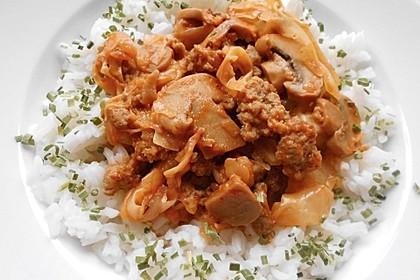 Spitzkohl-Champignon-Hack-Pfanne mit Reis 1
