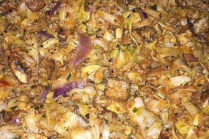 Spitzkohl-Champignon-Hack-Pfanne mit Reis 17