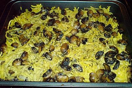 Käsespätzle mit Spitzkohl, Champignons und Hackfleisch 2