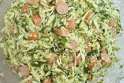 Zucchinisalat mit Würstchen