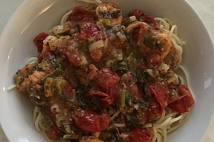 Spaghetti mit Kirschtomaten und Garnelen 8