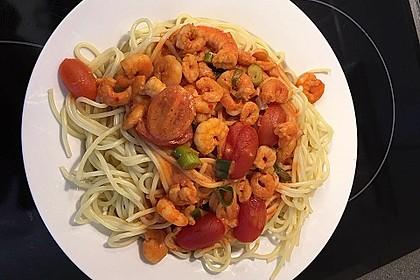 Spaghetti mit Kirschtomaten und Garnelen 4