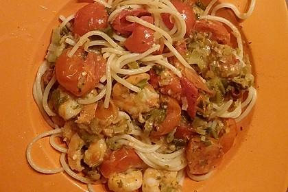 Spaghetti mit Kirschtomaten und Garnelen 9