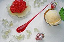 Geschmorter Pfirsich mit Himbeersorbet und Hollerblütengelee