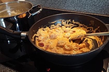 Spaghetti mit Gambas in Brunch - Sauce 2