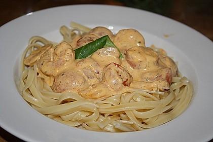 Spaghetti mit Gambas in Brunch - Sauce