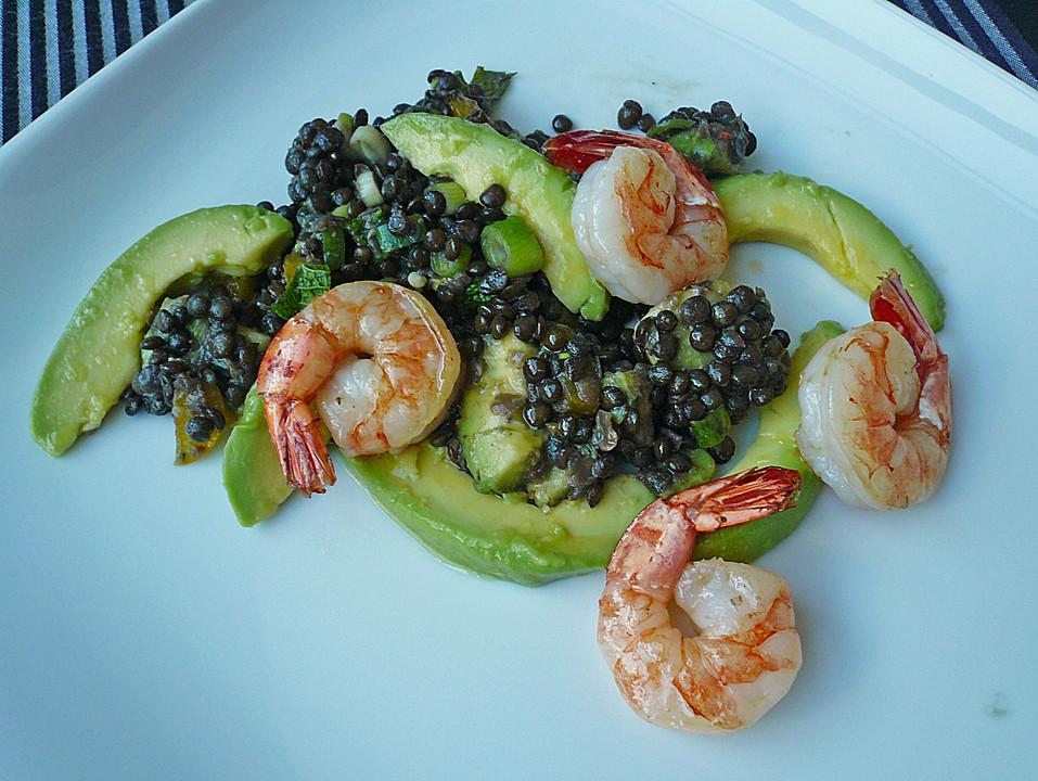 salat mit linsen avocado und krabben rezept mit bild. Black Bedroom Furniture Sets. Home Design Ideas