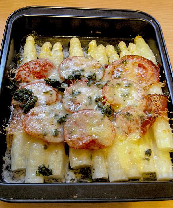 spargel schinken r llchen mit tomaten und k se rezept mit bild