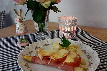 spargel schinken r llchen mit tomaten und k se von azoren. Black Bedroom Furniture Sets. Home Design Ideas
