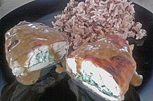 Putenschnitzel gefüllt mit Spinat und Schafskäse