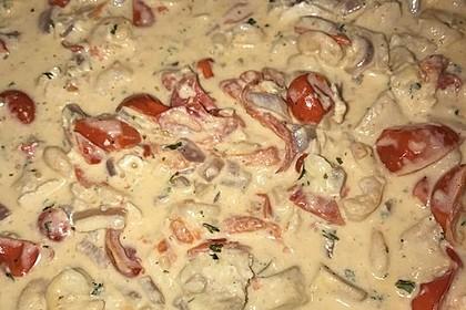 Sahnige Pasta mit Lachs und Krebsfleisch