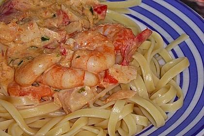 Sahnige Pasta mit Lachs und Krebsfleisch 1