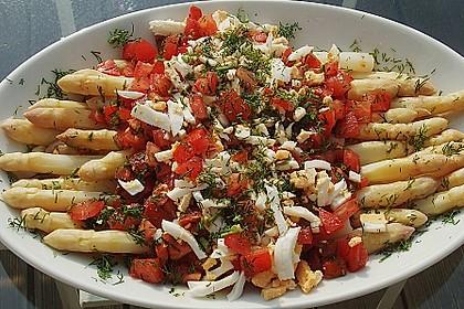 Spargel mit Tomaten - Vinaigrette und Ei 5