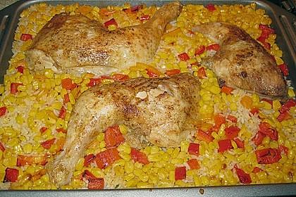 Bunte Hähnchenschenkel - Pfanne mit Reis 2