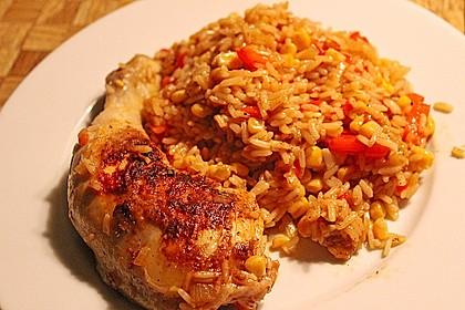 Bunte Hähnchenschenkel - Pfanne mit Reis