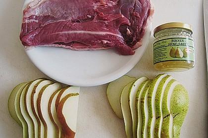 Entenbrust in Birnen - Senf - Sauce mit Flusskrebsen und Dinkel 3