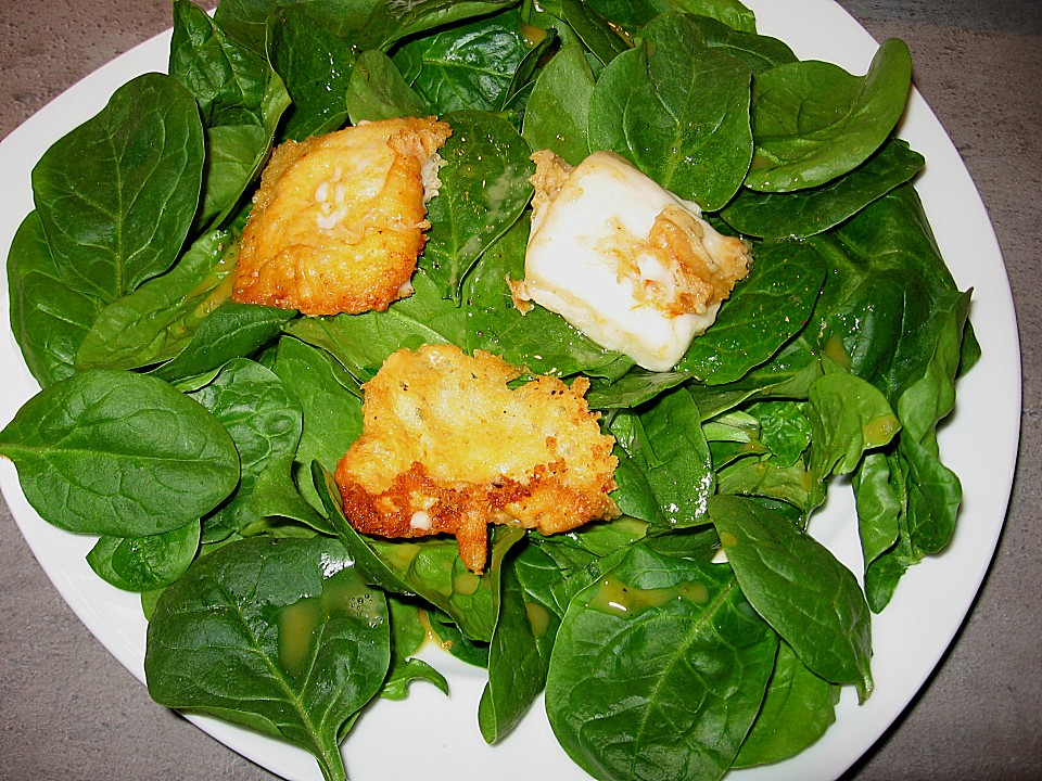 spinat salat mit gebratenem ziegenk se rezept mit bild. Black Bedroom Furniture Sets. Home Design Ideas