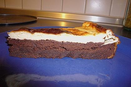 Käsekuchen  mit  Brownie Boden 38