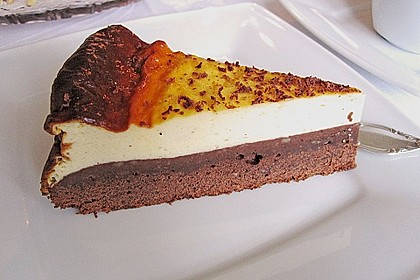 Käsekuchen  mit  Brownie Boden 4