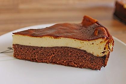 Käsekuchen  mit  Brownie Boden 7
