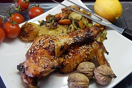 Knusprige Hähnchenkeulen aus dem Ofen 3