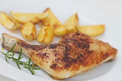 Knusprige Hähnchenkeulen aus dem Ofen 6