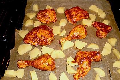 Knusprige Hähnchenkeulen / Hähnchenschenkel aus dem Ofen 117