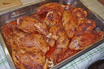 Knusprige Hähnchenkeulen / Hähnchenschenkel aus dem Ofen 23