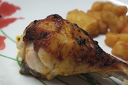 Knusprige Hähnchenkeulen / Hähnchenschenkel aus dem Ofen 10