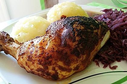 Knusprige Hähnchenkeulen / Hähnchenschenkel aus dem Ofen 7