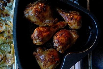 Knusprige Hähnchenkeulen / Hähnchenschenkel aus dem Ofen 91