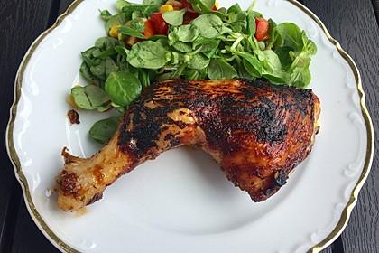 Knusprige Hähnchenkeulen / Hähnchenschenkel aus dem Ofen 14