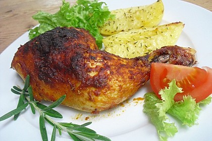 Knusprige Hähnchenkeulen / Hähnchenschenkel aus dem Ofen 114