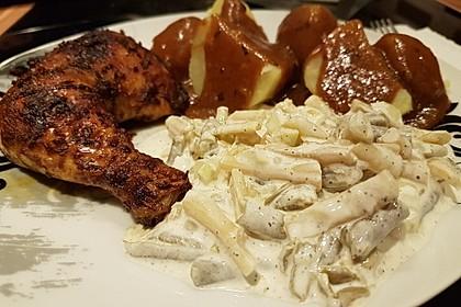 Knusprige Hähnchenkeulen / Hähnchenschenkel aus dem Ofen