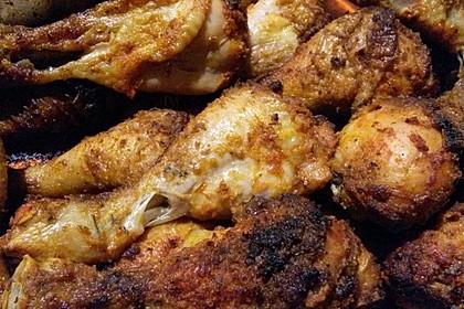 Knusprige Hähnchenkeulen / Hähnchenschenkel aus dem Ofen 128