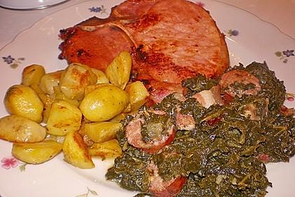 Grünkohl mit Kasseler, Mettwürstchen und Kartoffeln 7