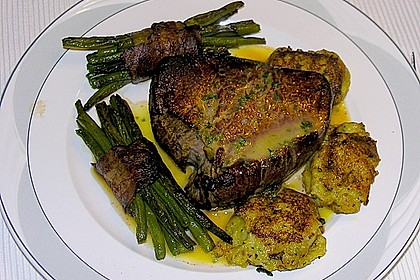 Chateaubriand mit Speckbohnen, Macaire - Kartoffeln und Sauce Béarnaise 21