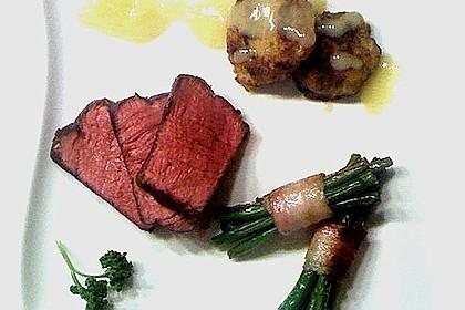 Chateaubriand mit Speckbohnen, Macaire - Kartoffeln und Sauce Béarnaise 10