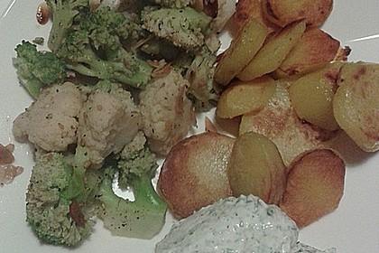 Gebratener Blumenkohl und Brokkoli mit Kräuterquark 2