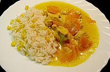 Karotten - Geflügel - Gulasch mit Mais - Reis